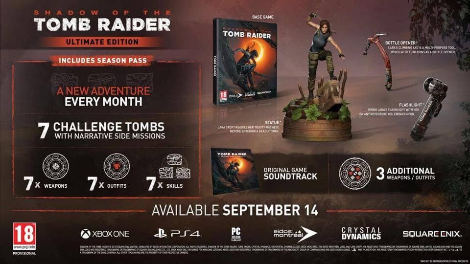 The Shadow Tomb Raider Limited Steelbook Edition Reg 3 PS4 2